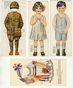 American Colortype Paper Doll Boy & Girl c. Paper Dolls Clothing, Paper Clothes, Paper Art, Paper Crafts, Fun Crafts, Paper People, Bobe, Up Book, Vintage Paper Dolls