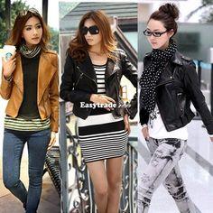 Women Short Zipper Lapel Slim Faux PU Leather Long Sleeve Epaulet Coat Jacket