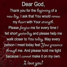 I absolutely love this letter to god!!! Its a beautiful way to start everyday!!!