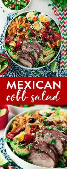 This Mexican Cobb Salad is so easy it'll blow your mind! Bring on the flavor, and don't skimp on the spice, then finish with your fave dressing! Healthy Salads, Healthy Eating, Healthy Recipes, Mexican Food Recipes, Dinner Recipes, Lunch Recipes, Dessert, Soup And Salad, Cobb Salad