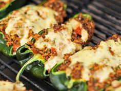 Grilled Chorizo Stuffed Poblano Peppers -   Not that healthy but delicious; substitute the chorizo with ground turkey or chicken meat