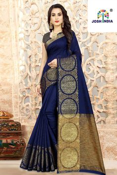 Work Type: Weaving Work Saree Color: Navy Blue Blouse Color: Navy Blue Saree Fabric: Linen Silk Blouse Fabric: Linen Silk Saree Size: Metres Blouse Piece Size: Metre Blouse is delivered Unstitched. Note: The color of Tussar Silk Saree, Art Silk Sarees, Cotton Saree, Indian Dresses, Indian Outfits, Indian Clothes, Beautiful Saree, Beautiful Dresses, Anarkali