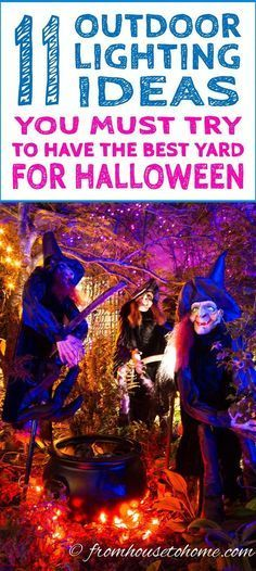 If you want some ways to make your yard haunt look spooky, these Halloween lighting ideas are perfect! Easy to do and will look so awesome! #halloween #yardhaunt