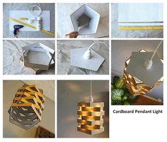 Caixas de pizza em formato de pentágono transformadas em uma cúpula para lâmpadas.