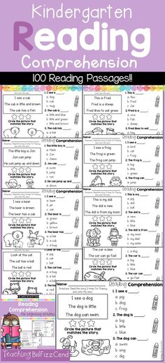 Inside you will find 100 Kindergarten Reading comprehension Passages for Emergent Readers. These reading comprehension packets include the following activities:-Read 3 times for fluency-Fill in the blank questions-Multiple choices-Match the story with the