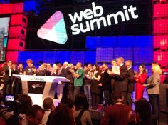 Shaun Murphy and Anna Scally from KPMG Ireland help ring the Nasdaq bell at #WebSummit in Dublin.