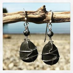 Puget Sound Pebble earrings with sterling detailing and handmade ear wires. Visit my website to see more: http://www.andiclarkejewelry.com/