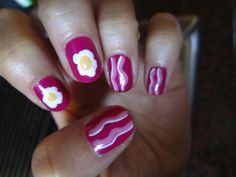 eggs and bacon nail art