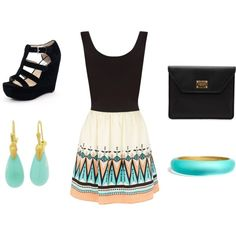 Black and aqua- goal!!!- to look good in a tank top tucked into a skirt... :)