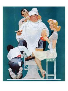 """""""Full Treatment"""", May 18,1940 Giclee Print by Norman Rockwell at Art.com"""