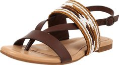 UGG Women's Verona Serape Beads Chocolate Leather Sandal 9 B (M). Buckle closure. Leather insole lining. PORON® and memory foam insole with added arch support. Rubber outsole.