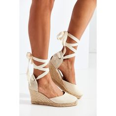 Soludos Linen Espadrille Tall Wedge Sandal ($95) ❤ liked on Polyvore featuring shoes, sandals, wedge sandals, wedge heel sandals, wrap around sandals, lace up wedge espadrilles and woven sandals