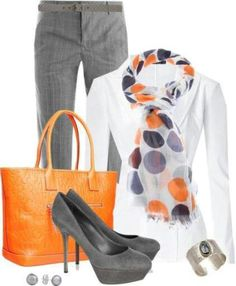 Gray slacks, white button-up, gray heels, pop of color on a scarf