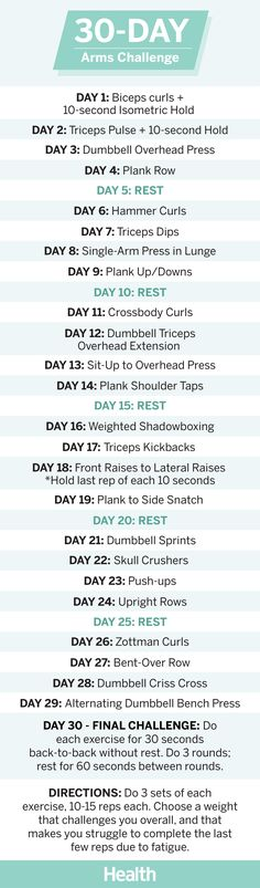 Squat challenge 447967494186938695 - This Arms Challenge Will Transform Your Upper Body – Health Source by drtinytree 30 Day Arm Challenge, Plank Challenge, Push Up Challenge, 30 Day Plank, Month Workout, Workout Schedule, Workout Calendar, 30 Day Arms, 30 Day Challenge