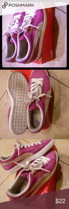 135d65fe4044 Yummy Pumas Suede purplish pink   white striped! These Pumas are pimpin .