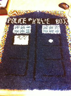 "The TARDIS latch hook rug for ""someone's"" dorm room ;)"
