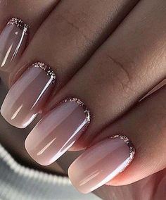 Wedding Nails: Beautiful and Elegant Nail Designs: Weddings are a very special event that allows us all to wear stunning dresses and look pretty. Nails are no exception. There are so many choices…More French Tip Acrylic Nails, French Tip Nail Designs, Elegant Nail Designs, Elegant Nails, Cute Acrylic Nails, Acrylic Nail Designs, Elegant Bridal Nails, Glitter French Nails, Pretty Nail Designs
