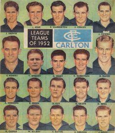 Carlton's 1952 team as featured in The Argus.