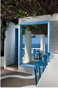 Il Riccio – Stylish Waterfront Restaurant In Capri Waterfront Restaurant, Restaurant Design, Outdoor Restaurant, Hand Painted Chairs, Greek Restaurants, Interior Decorating, Interior Design, Pergola Plans, Pergola Ideas