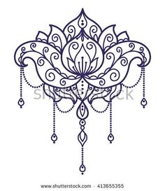 vector, abstract, oriental style, flower, lotus, tattoo, design element, doodle, yoga, medallion, hand-drawing, mandala