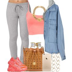 Coral Lava. by livelifefreelyy on Polyvore featuring Forever 21, Pull&Bear, NIKE, MCM, Versace and ASOS