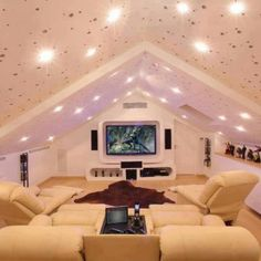 Attic - bright ceiling for a dark space... nice