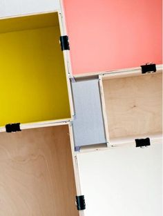 """DIY IKEA STORAGE - Striking idea: the creative minds behind Livet Hemma used different plywood """"Prant"""" boxes to build this stunning modular storage system. They painted the insides with lovely soft. Wall Shelving Units, Wooden Shelves, Wooden Boxes, Painted Boxes, Ikea Box Shelves, Storage Shelving, Crate Shelves, Shelving Systems, Book Shelves"""