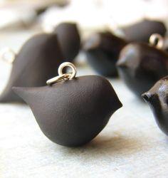 Matte black bird pendant