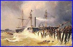 """Antoine Léon  Morel-Fatio,  """"Débarquement de Louis-Philippe à Calais par  tempête, le 15 avril 1840"""" Huile sur toile,  1841"""