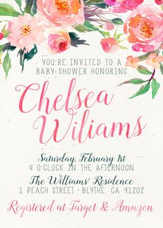 Unique Baby Shower Invitation, Hot Pink, Orange, Watercolor Flowers, Colorful, Cute, Pink and Green, Floral, Flowers