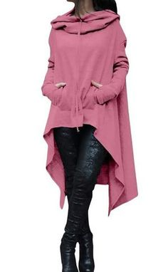 70ec335370a Buy Women s Fashion Solid Color Draw Cord Coat Long Sleeve Loose Casual  Poncho Coat Hooded Pullover Long Hoodies Sweatshirts at Home - Design    Decor ...