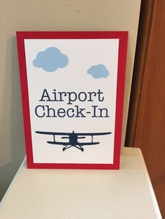 Airport Check-In Sign, Vintage Airplane Party Decorations, Vintage Airplane Party Theme by HandmadeByVee on Etsy