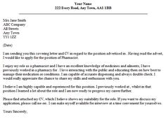 Hospital Pharmacist Resume Cover Letter Job Application Examples