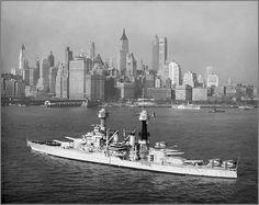 Vintage photographs of battleships, battlecruisers and cruisers.: Battleship USS Colorado, New York City, circa 1932...