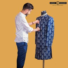 The achkan which is much shorter than the sherwani, seems to be the outfit in demand this season. These outfits in self embroideries in preppy colours are becoming mainstream. #ravigupta #delhi #india #bespoke #sherwanis #Indianembroidery #modern #summer #weddings #groomswear #outdoor #shoot #royal #classic #achkan #preppy