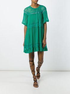 Nº21 Vestido de seda com detalhe de renda