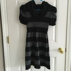 Black and Gray sweater dress Super cute black/gray striped sweater dress with cowl neck and rouched sleeves. Looks great with tights or leggings with tall boots. Great condition. Size large, buts fits like a small. Dresses