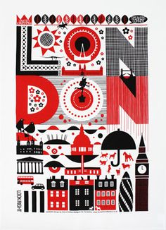 London (red) by Maria Homer-Dahlgren. A fab tea towel from To Dry For.