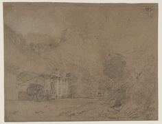 Joseph Mallord William Turner 'The Post House, Voreppe with the Grand Aiguille Beyond, with Turner's Cabriolet' 1802