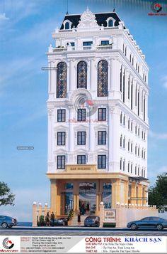 Thiết kế khách sạn cổ điển đẹp - Kiến An Vinh Classic House Exterior, Classic House Design, Dream Home Design, Classic Architecture, Facade Architecture, Building Facade, Building Design, Townhouse Exterior, Model House Plan