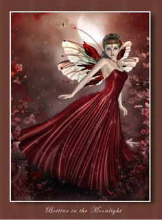 """Art by Anne Dubois (CaperGirl42). - Bettine in the moonlight with a red dress. - Board """"Art-Caper Girl42"""". -"""