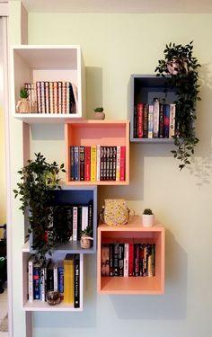 Ikea, Eket, shelves, book shelf, floating bookshelf – Home Decor Bookshelves For Small Spaces, Creative Bookshelves, Bookshelves In Bedroom, Floating Bookshelves, Bookshelf Design, Floating Shelves Diy, Bookshelf Decorating, Bookshelf Ideas, Ikea Shelves Bedroom