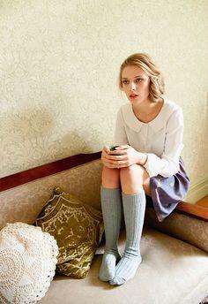 Ivory collared shirt + skirt + teal knee socks