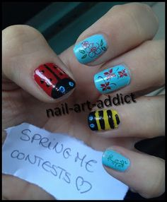Nail Art : Printemps http://www.nail-art-addict.blogspot.fr/2013/04/concours-springme-contest.html