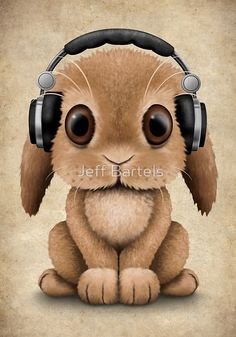 Cute Baby Bunny Dj Wearing Headphones | Jeff Bartels