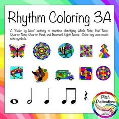 Rhythm Coloring 3B - Color by Note Half Note, Quarter Rest, Eighth Note, half note, whole note - GREAT for sub plans and rhythm practice! #elmused, #musiced, #musiceducation, #rhythm #orff #kodaly