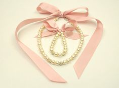 Flower girl jewelry/Blush pink ribbon flower girl pearl jewelry set necklace and bracelet/Kids jewelry/Flower girl gifts/Wedding gift set