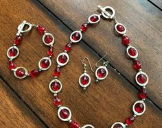 Red and Silver 3 piece Jewelry Set