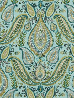 Aqua Blue Paisley Fabric Woven Cotton by PopDecorFabrics on Etsy Blue And White Fabric, Red And Teal, Aqua Blue, Peacock Blue, White Fabrics, Paisley Curtains, Paisley Fabric, Paisley Print, Furniture Boutique