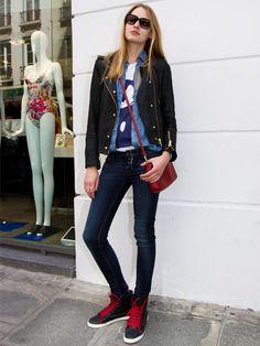 【ELLE】モデルが履きこなすハイブランドのスニーカー 着こなし・コーデ エル・オンライン